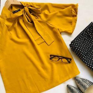 SheIn mustard office professional top tie neck L